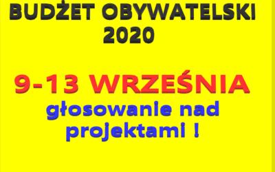 BUDŻET OBYWATELSKI 2020 – głosowanie w dn. 9-13 września!