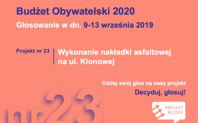 GŁOSOWANIE! w dn. 09.09-13.09 głosujemy na wybrany projekt w Budżecie Obywatelskim 2020