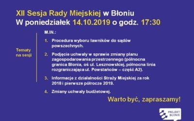 W poniedziałek – 14.10.2019 godz. 17.30 sesja Rady Miejskiej
