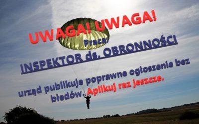 UWAGA! PRACA! nowa wersja konkursu na stanowisko inspektora ds. obronności …w urzędzie w Błoniu.
