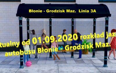 Rozkład jazdy autobusu Błonie – Grodzisk linia 3A aktualny od 01.09.2020r.