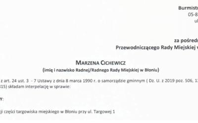 Interpelacja radnej Marzeny Cichewicz w sprawie TARGU.