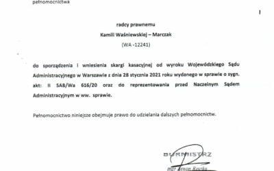 Skarga kasacyjna Burmistrza na wyrok WSA.